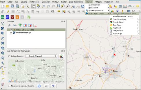 Ajout de données cartographiques web d'OpenStreet Map